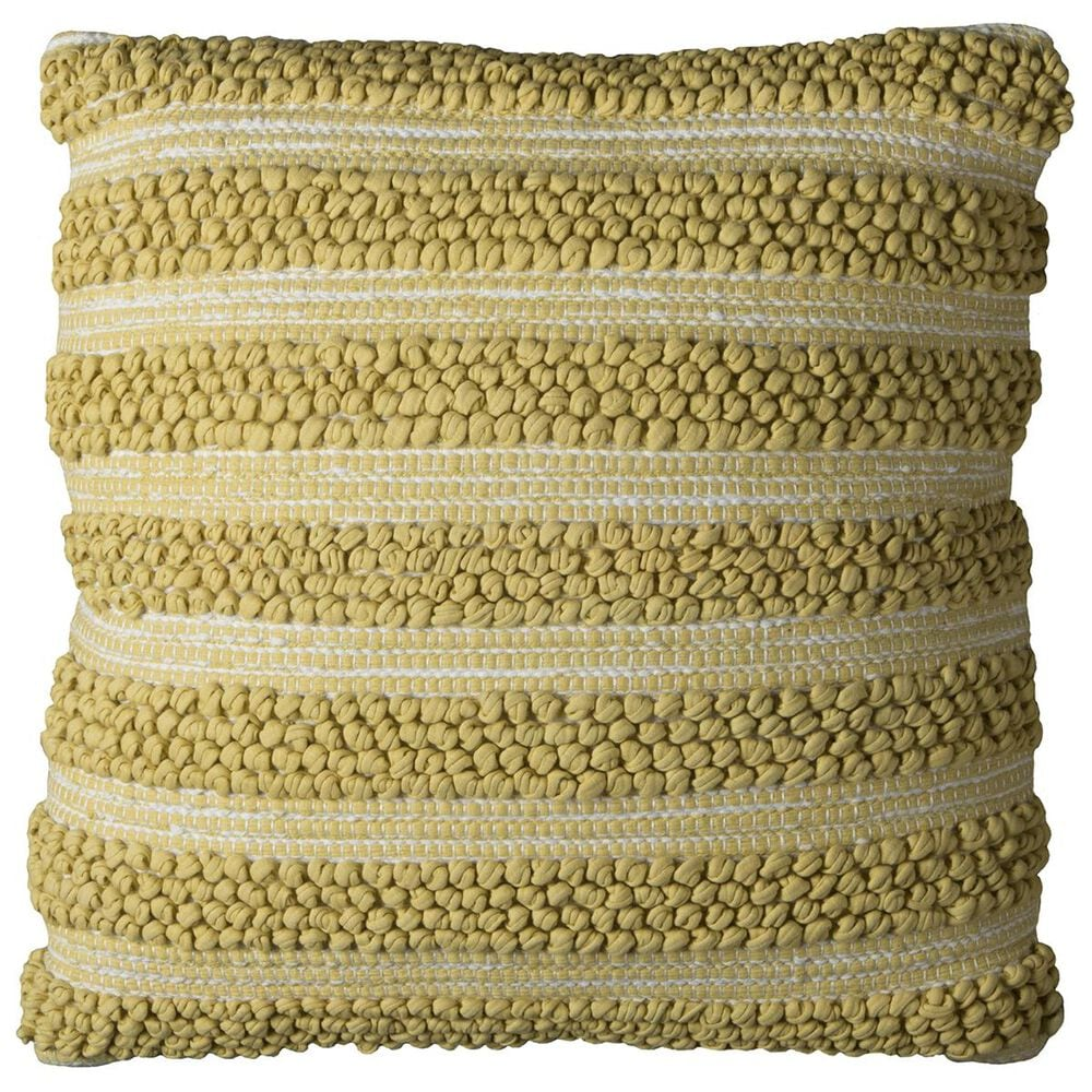 """Rizzy Home 20"""" x 20"""" Pillow Cover in Yellow with White, , large"""