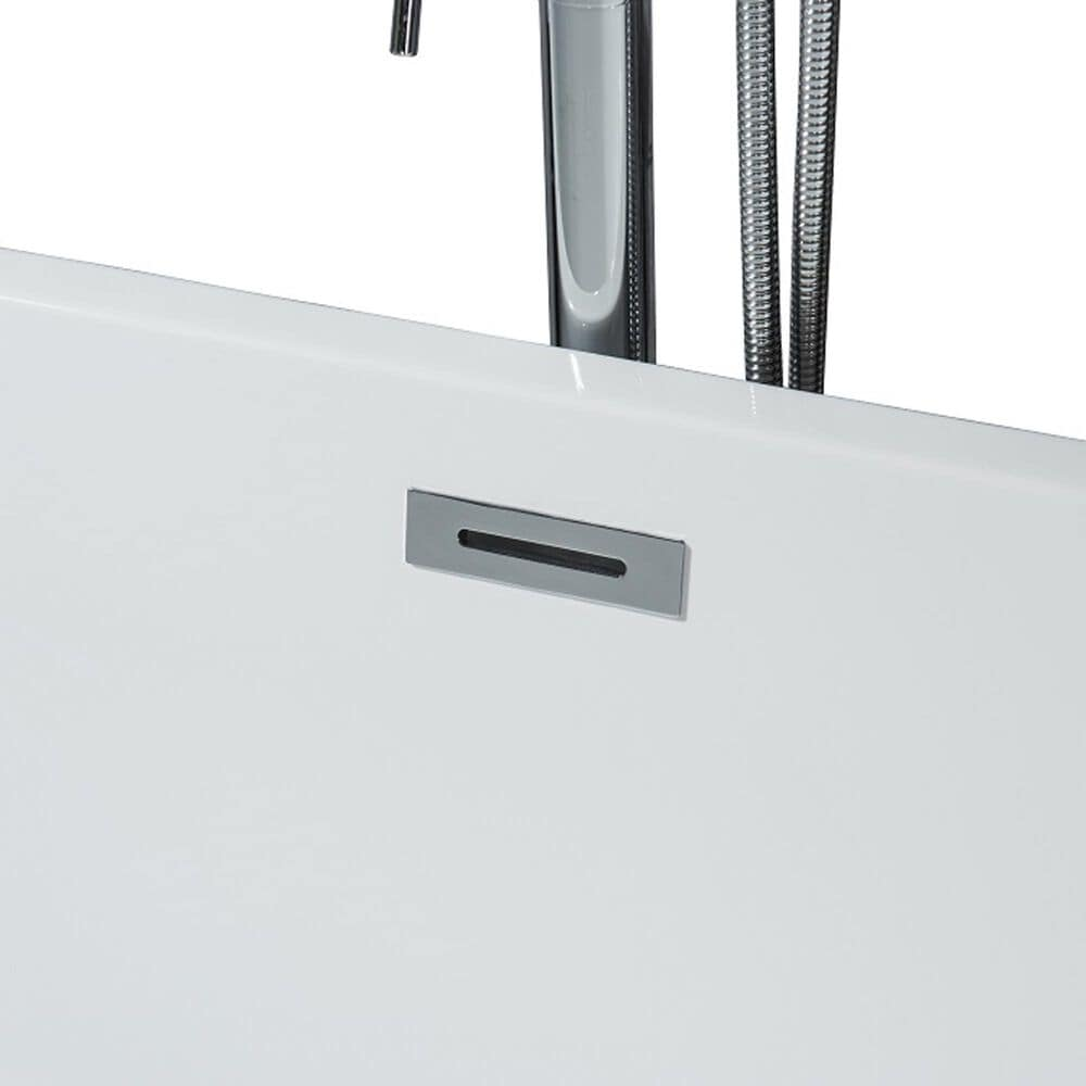 """Lexora Home Vinter 59"""" Free Standing Acrylic Bathtub with Chrome Drain in White, , large"""