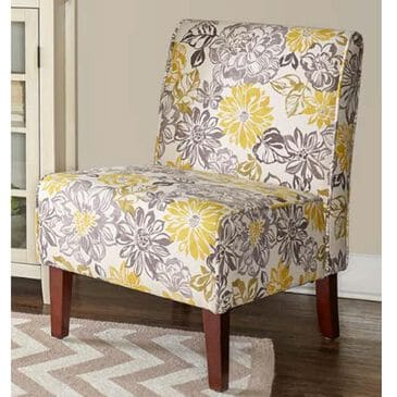 Linden Boulevard Lily Bridey Chair with Dark Walnut Legs in Gray and Yellow, , large