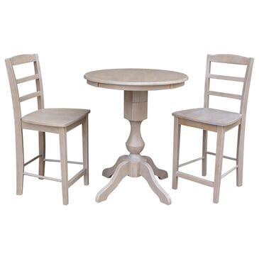 International Concepts Madrid 3-Piece Counter Height Dining Set in Washed Gray Taupe, , large