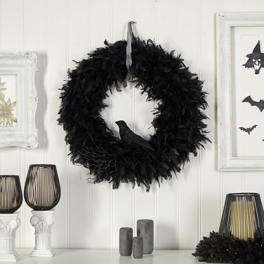 Nearly Natural Inc 30in. Halloween Raven Feather Wreath, , large