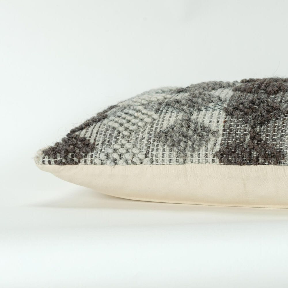 """Rizzy Home Geometric 14"""" x 26"""" Pillow in Gray, , large"""
