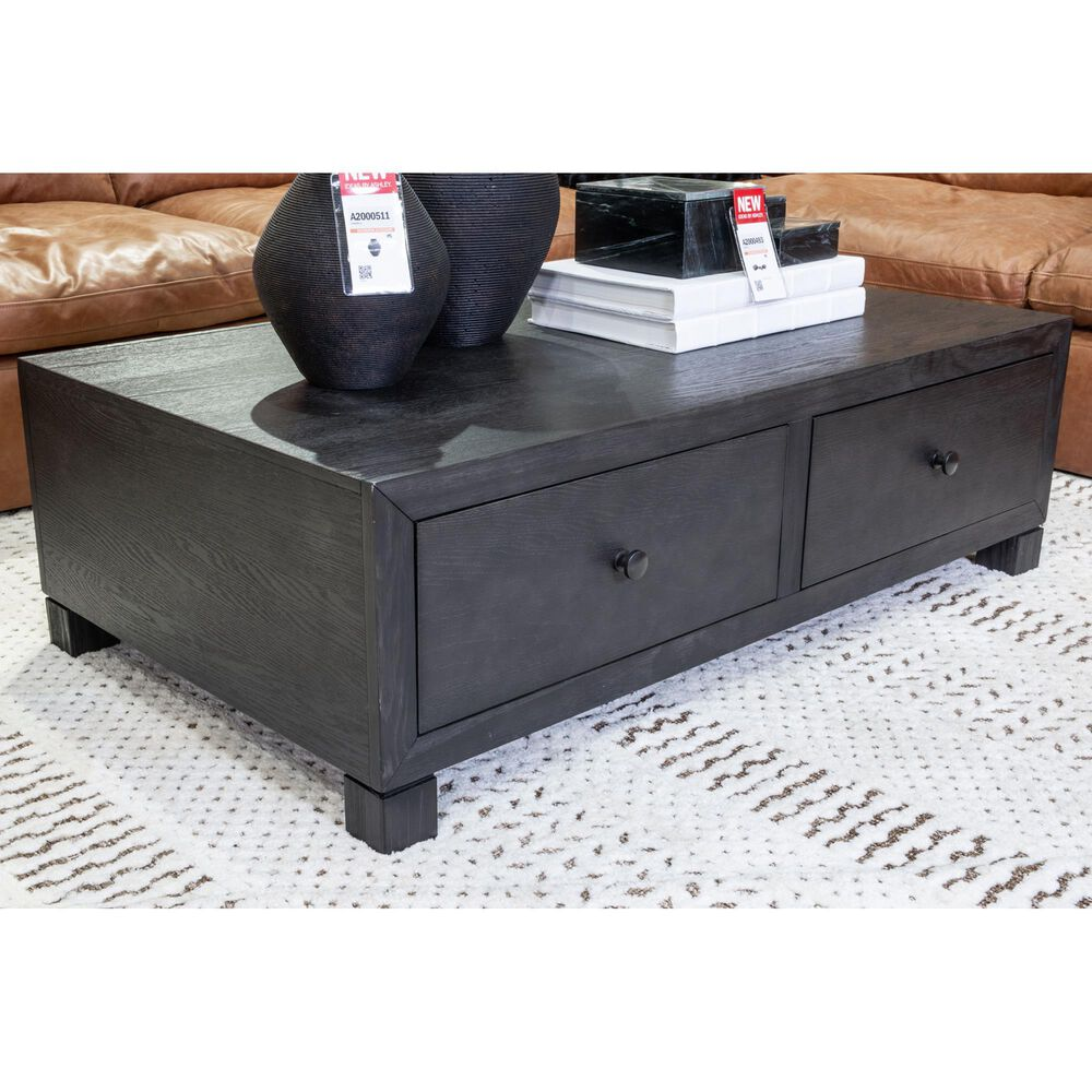 Signature Design by Ashley Foyland Cocktail Table with Storage in Black, , large