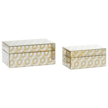 CosmoLiving by Cosmopolitan Glam Wood Jewelry Boxes in Gold (Set of 2), , large