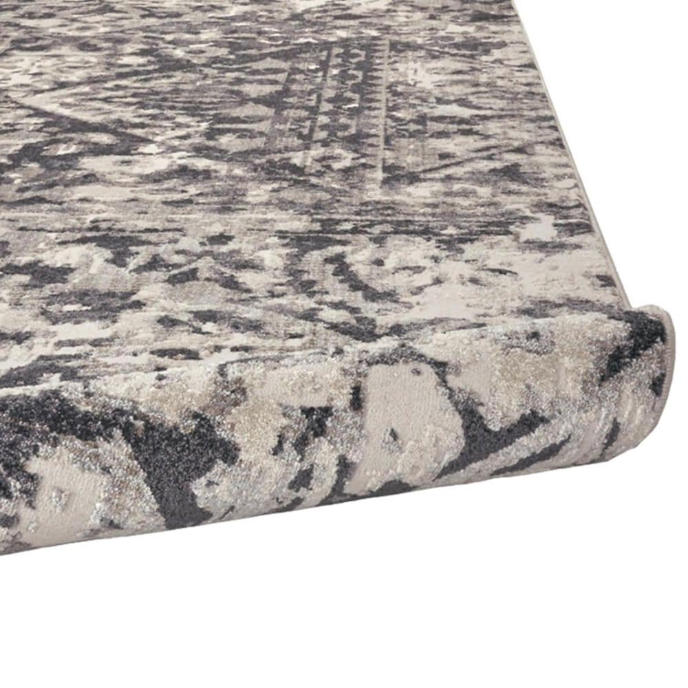 """Feizy Rugs Kano 3876F 2'7"""" x 8' Charcoal and Ivory Runner, , large"""