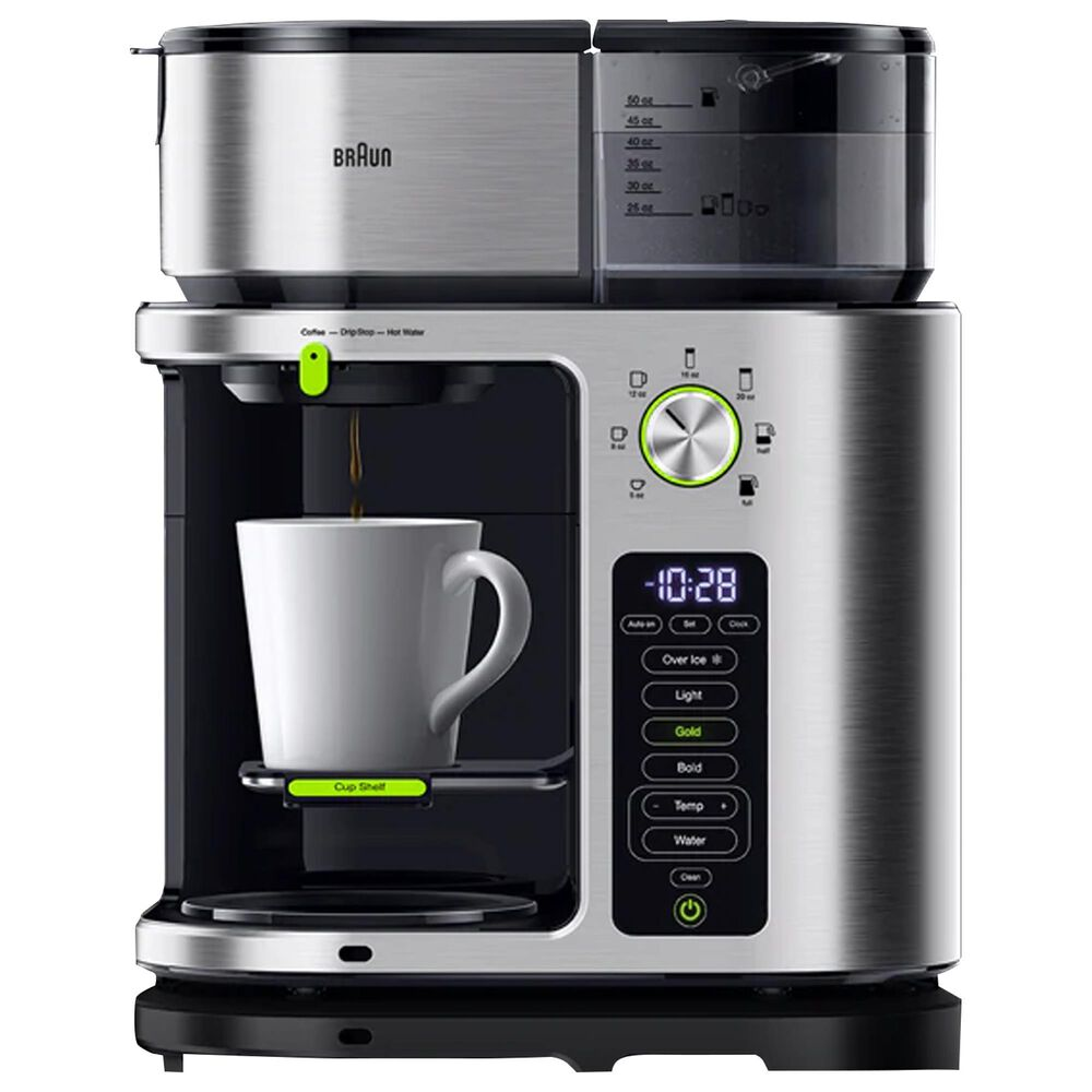 Braun Multiserve 10-Cup Drip Coffee Maker in Stainless Steel, , large