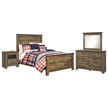 Signature Design by Ashley Trinell 4 Piece Full Panel Bedroom Set in Brown, , large