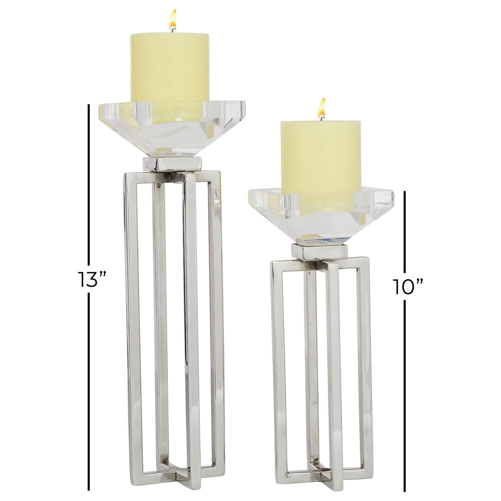 Maple and Jade  Glam Stainless Steel Candle Holder Set of 2 in White , , large