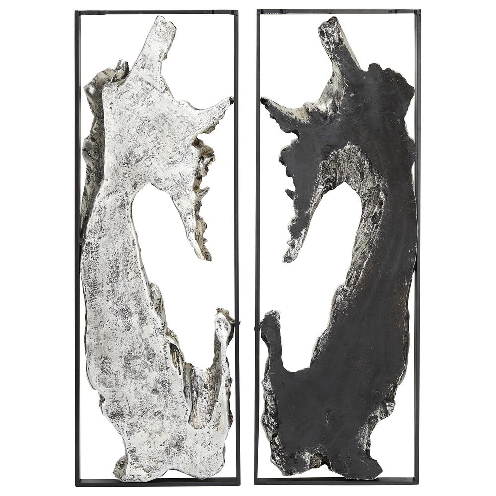 Maple and Jade Contemporary Metal Wall Decor in Silver and Black (Set of 2), , large