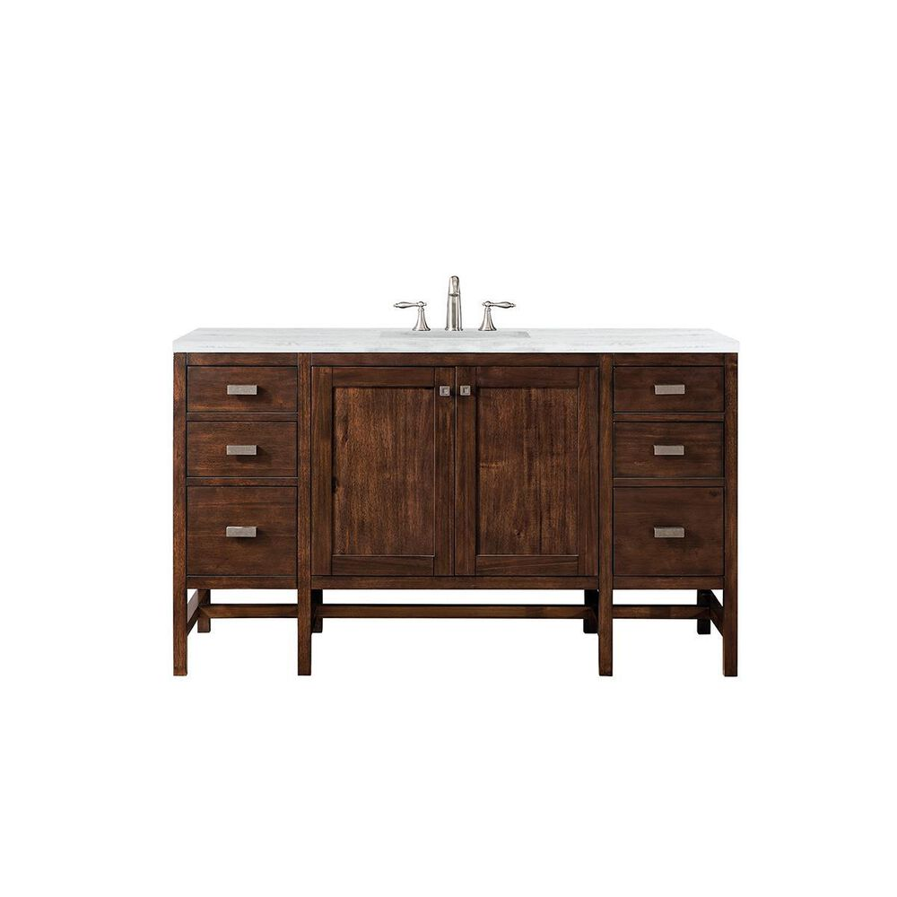 """James Martin Addison 60"""" Single Vanity Cabinet , Mid Century Acacia, with 3 CM Arctic Fall Solid Surface Top w/ Sink, , large"""