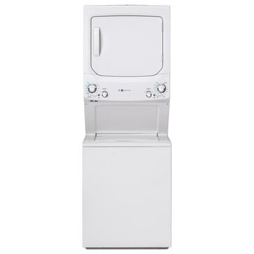 GE Appliances 3.9 Cu. Ft. Front Load Washer and 5.9 Cu. Ft. Electric Dryer Stack Laundry in White, , large