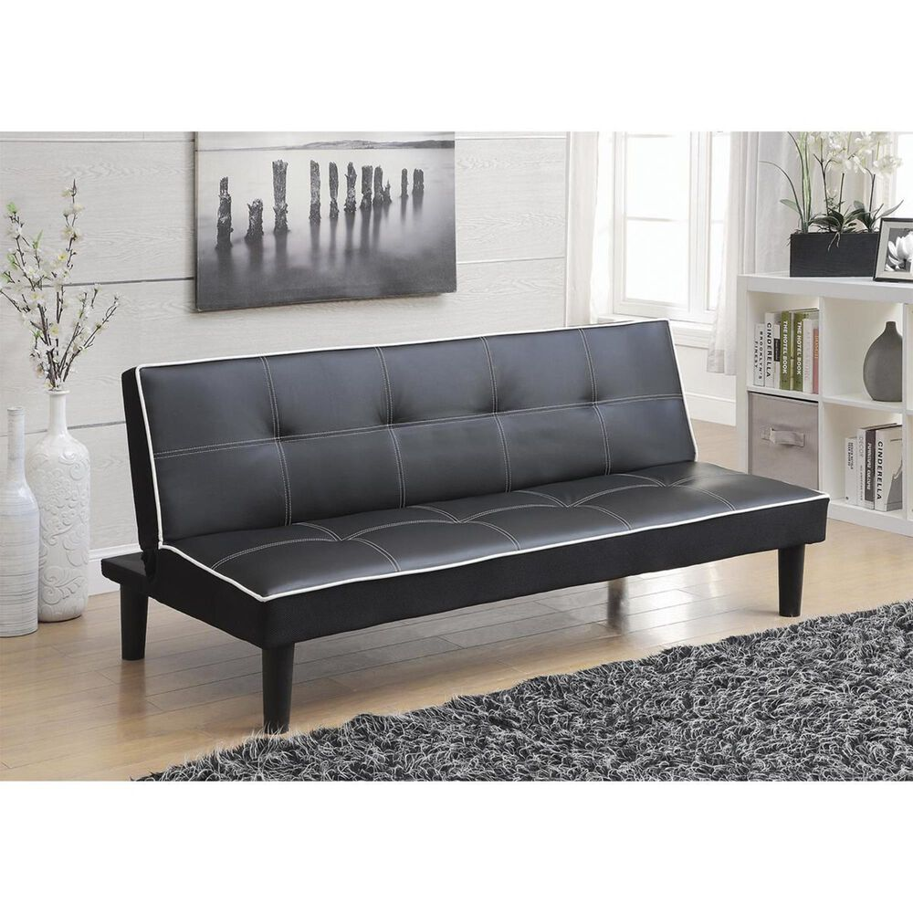 Pacific Landing Convertible Sofa in Black with White Piping, , large