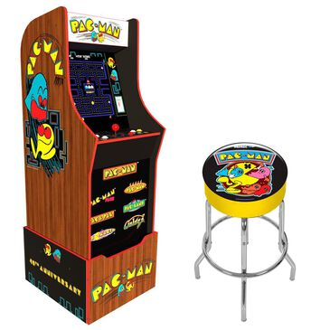 Arcade1up Pac-Man 40th Anniversary Edition + Riser and Stool, , large