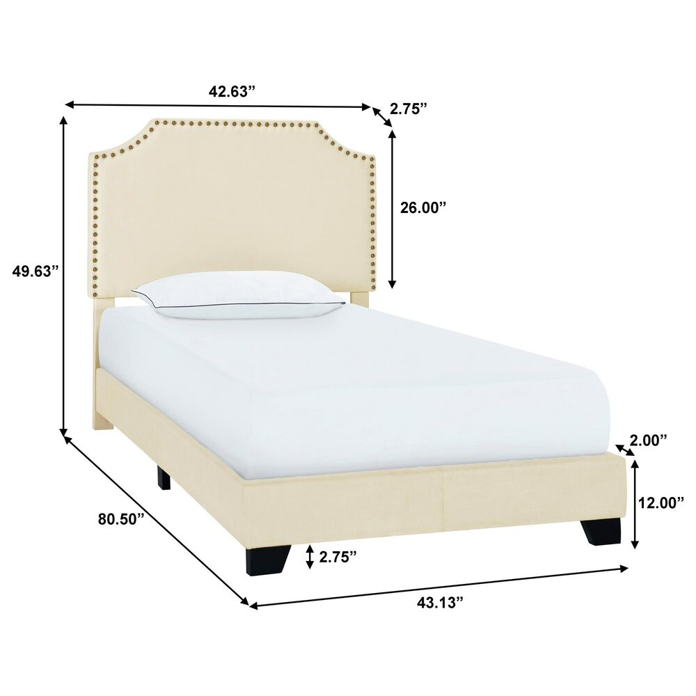 Accentric Approach Twin Upholstered Bed in Cream, , large