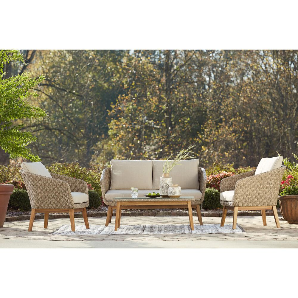 Signature Design by Ashley Crystal Cave 2-Piece Conversation Set with Beige in Acacia, , large