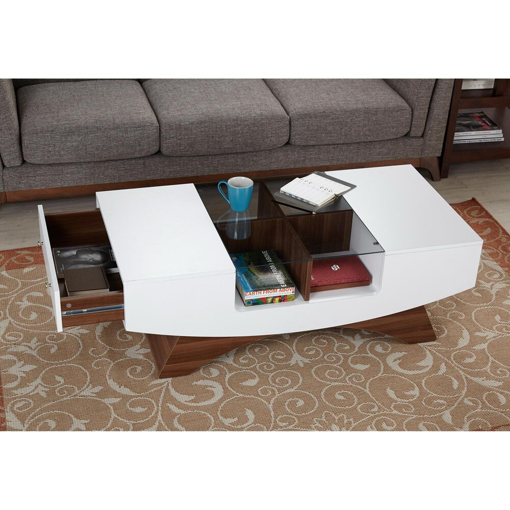 Furniture of America Vazquez Coffee Table in Walnut/White, , large