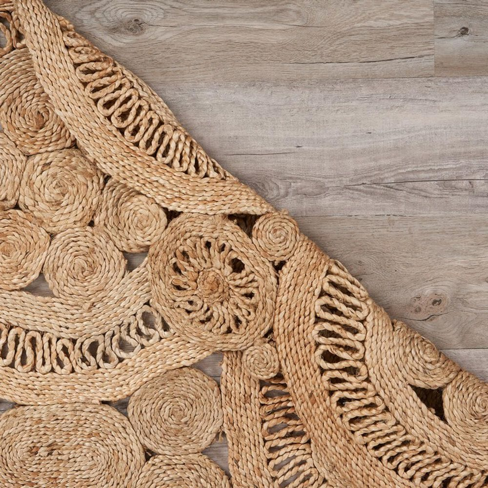 L&R Resources Natural Jute  6' Scalloped Natural Area Rug, , large