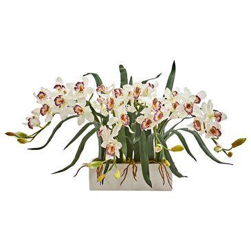 Nearly Natural Inc Cymbidium Artificial Arrangement in White Vase, , large