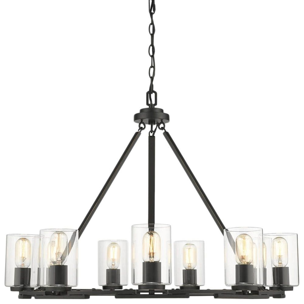 Golden Lighting Monroe 9-Light Chandelier in Black with Clear Glass, , large