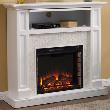 Southern Enterprises Buegan Electric Media Fireplace Console in White, , large