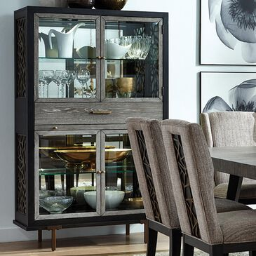Nicolette Home Ryker Display Cabinet in Black, Grey, and Aged Brass, , large