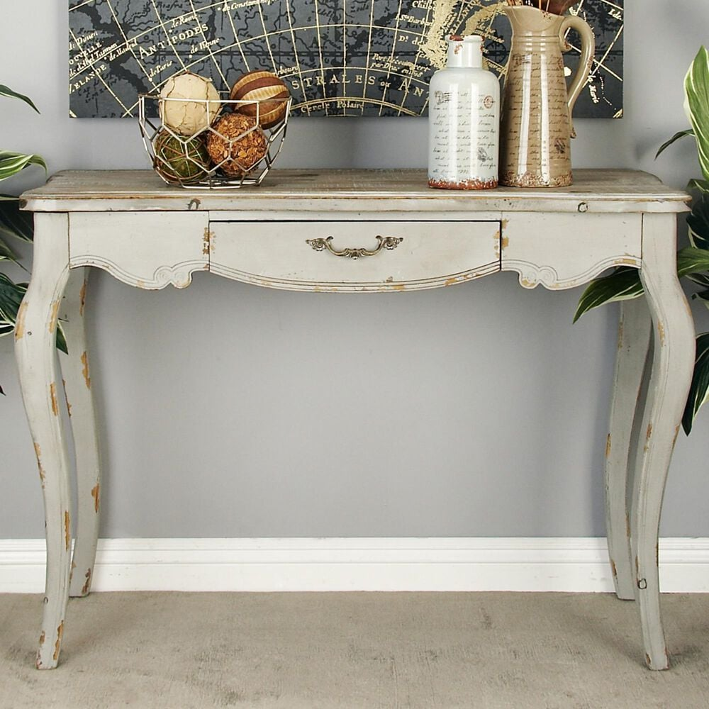 Maple and Jade Console Table in White, , large