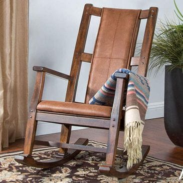 Sunny Designs Santa Fe Rocker with Brown Cushion in Dark Chocolate, , large