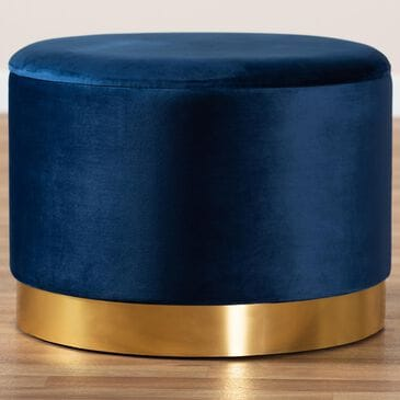 Baxton Studio Marisa Storage Ottoman in Navy Blue/Gold, , large