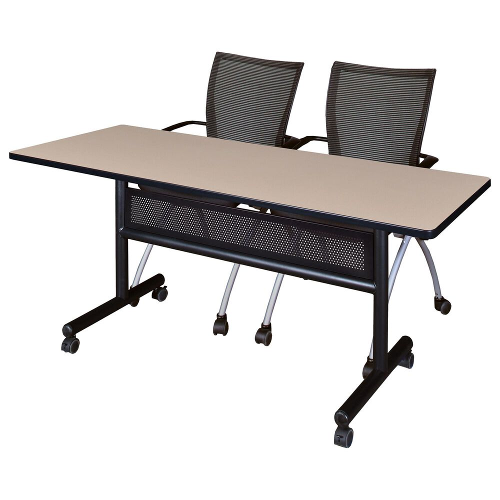 Regency Global Sourcing 3-Piece Mobile Training Table Set in Beige/Black/Silver, , large