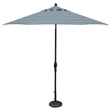 Garden Party 9' Auto Tilt Umbrella with Paddock Aqua Stripe Canopy in Black, , large