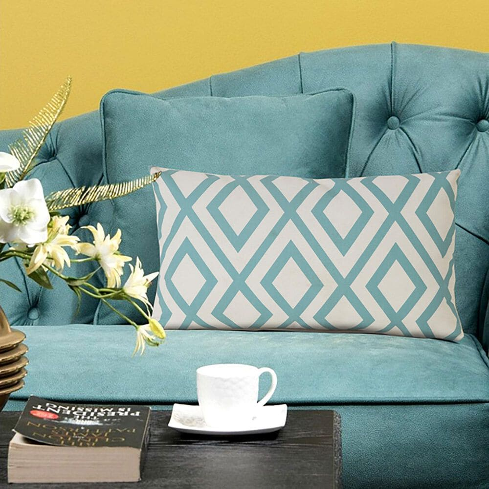 """L.R. RESOURCES 14"""" x 20"""" Diamond Outdoor Pillow in White and Teal, , large"""