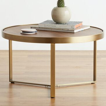 Joybird Mindy Coffee Table in Walnut and Satin Brass Brushed, , large