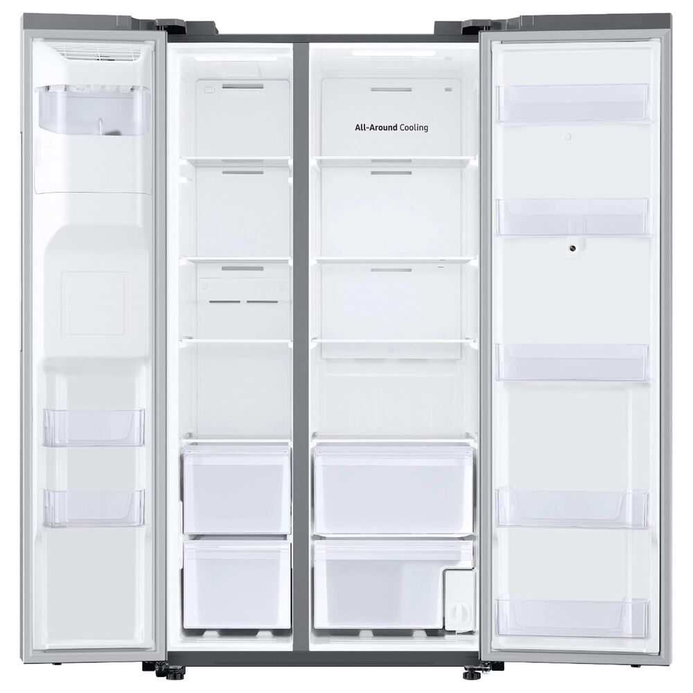 Samsung 4-Piece Kitchen Package with 26.7 Cu. Ft. Side-by-Side Refrigerator and Pocket Handle Dishwasher in Stainless Steel, , large