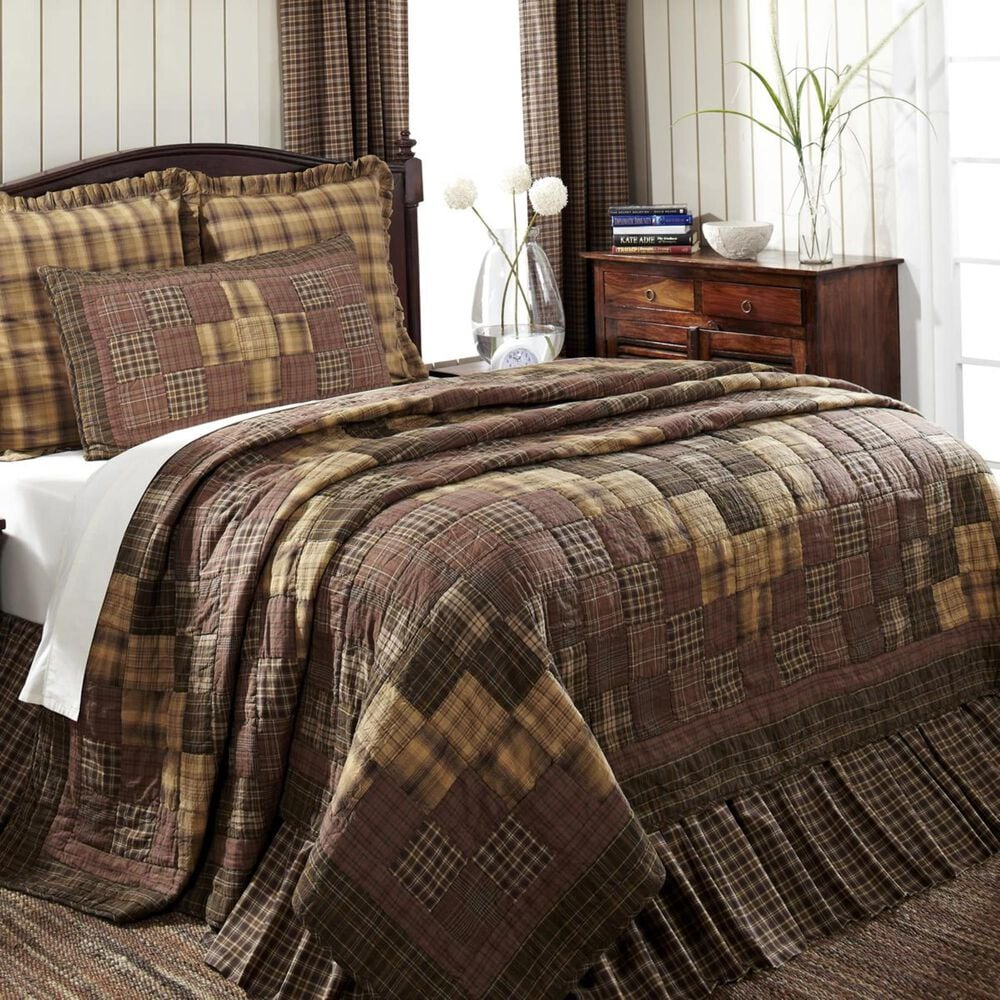 """VHC Prescott 94"""" x 94"""" Queen Quilt in Brown, White and Tan, , large"""