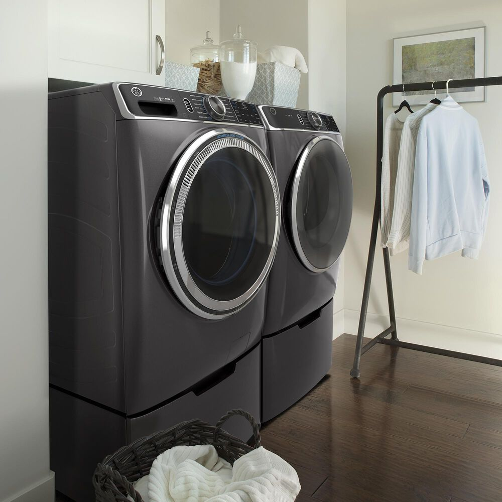 GE Appliances 5.0 Cu. Ft. Front Load Washer and 7.8 Cu. Ft. Electric Dryer Laundry Pair in Diamond Gray, , large