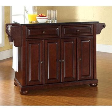 Crosley Furniture Alexandria Solid Black Granite Top Kitchen Island in Vintage Mahogany, , large