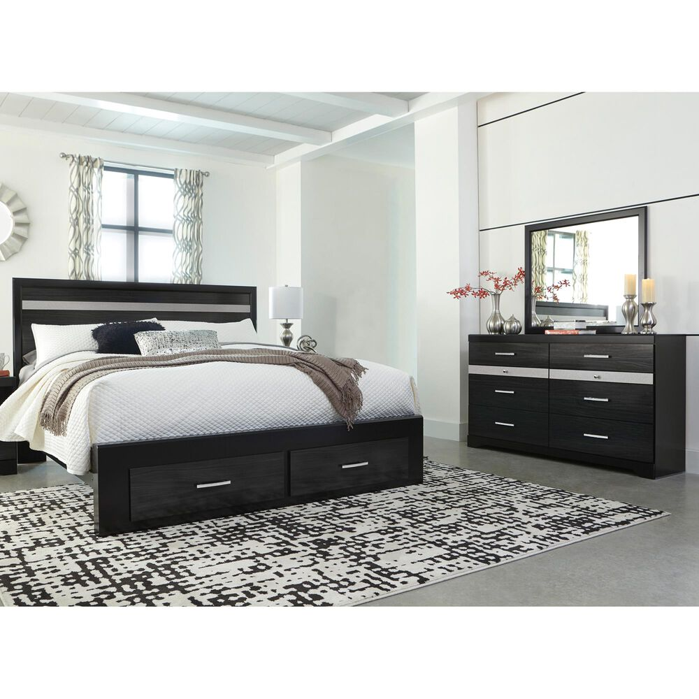 Signature Design by Ashley Starberry 3 Piece King Storage Bedroom Set in Black and Silvertone, , large