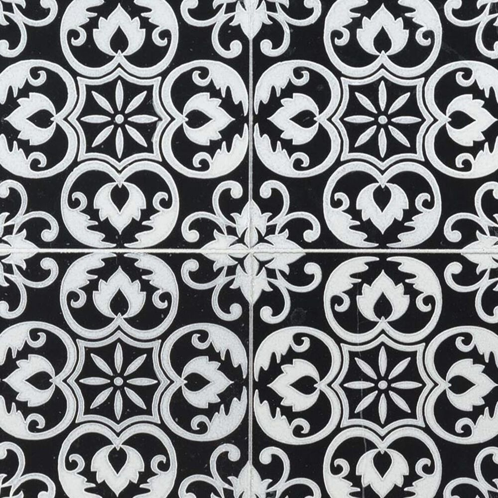 "MS International China Tetris Florita Nero Black and White 6"" x 6"" Natural Stone Tile, , large"