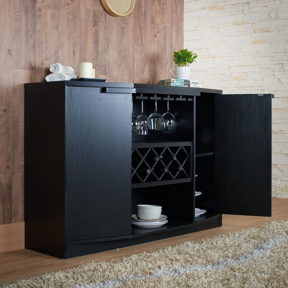 Furniture of America Clay Wine Bar Buffet in Black, , large