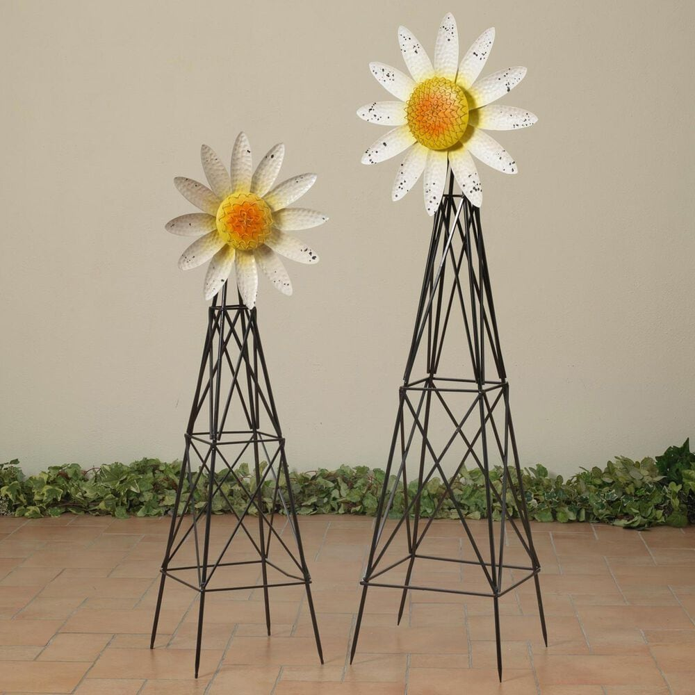 """The Gerson Company 69.2"""" Sunflower Windmill in Silver and White - Set of 2, , large"""