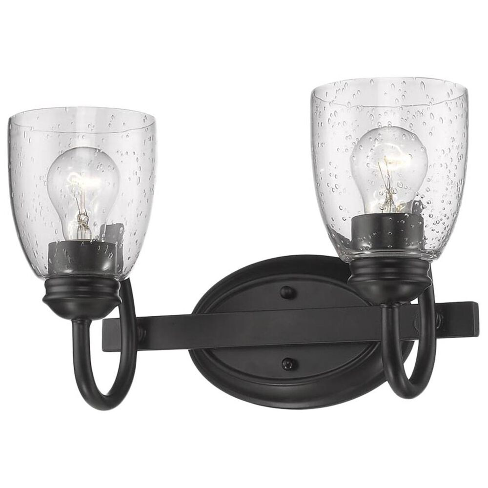 Golden Lighting Parrish 2-Light Bath Vanity in Black with Seeded Glass, , large