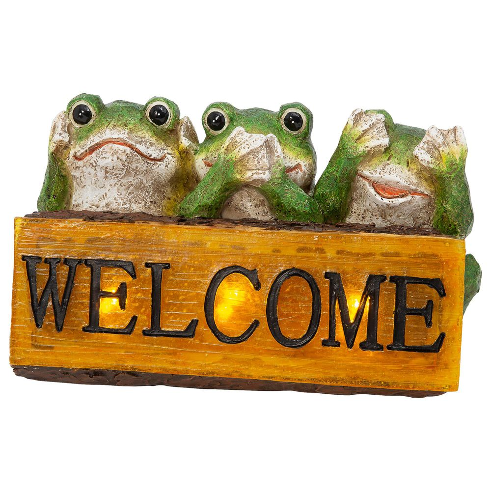 """The Gerson Company 10.6"""" Solar Frog Welcome Sign in Green, , large"""