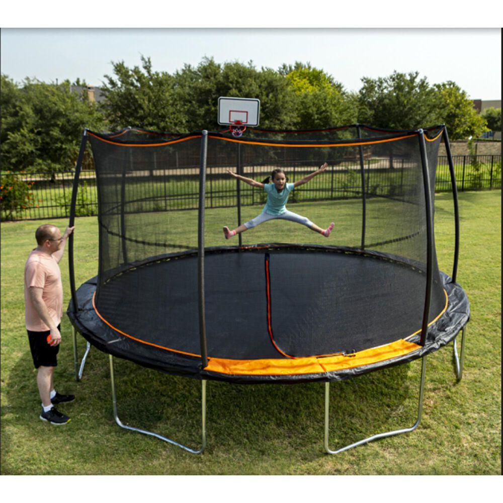 Jumpking 15 ft. Trampoline  with Bonus Basketball Hoop, , large