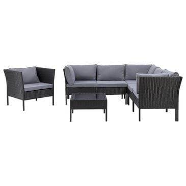 CorLiving Parksville 7-Piece Patio Sectional Set in Black and Gray, , large