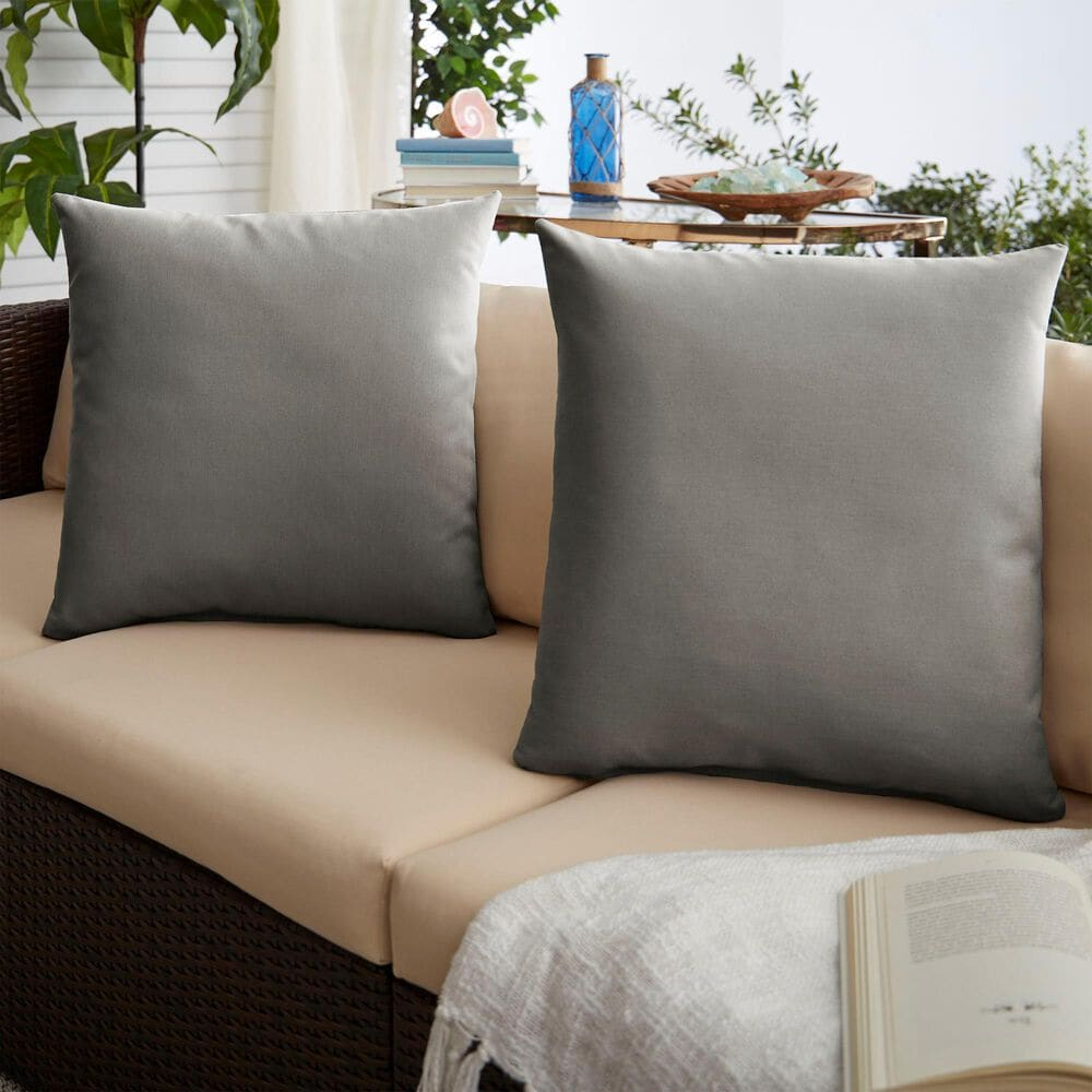 """Sorra Home Sunbrella 22"""" Pillow in Canvas Charcoal (Set of 2), , large"""