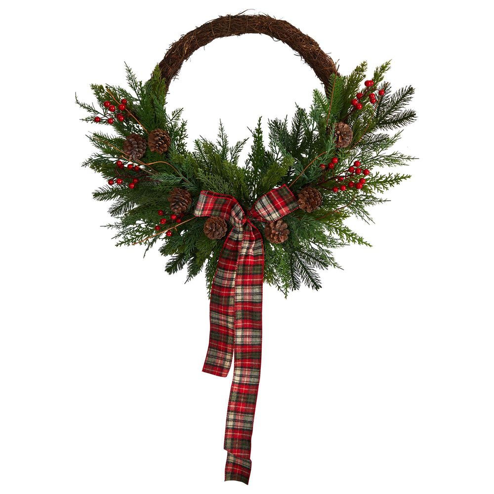 Nearly Natural Inc 28in. Pine and Pinecone Artificial Christmas Wreath with Decorative Bow, , large