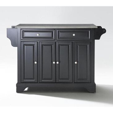 Crosley Furniture LaFayette Stainless Steel Top Kitchen Island in Black, , large