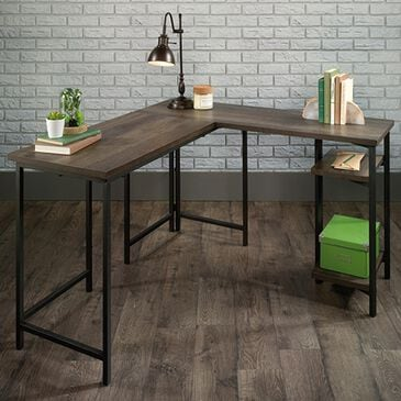 Sauder North Avenue L-Shaped Desk in Smoked Oak and Black, , large