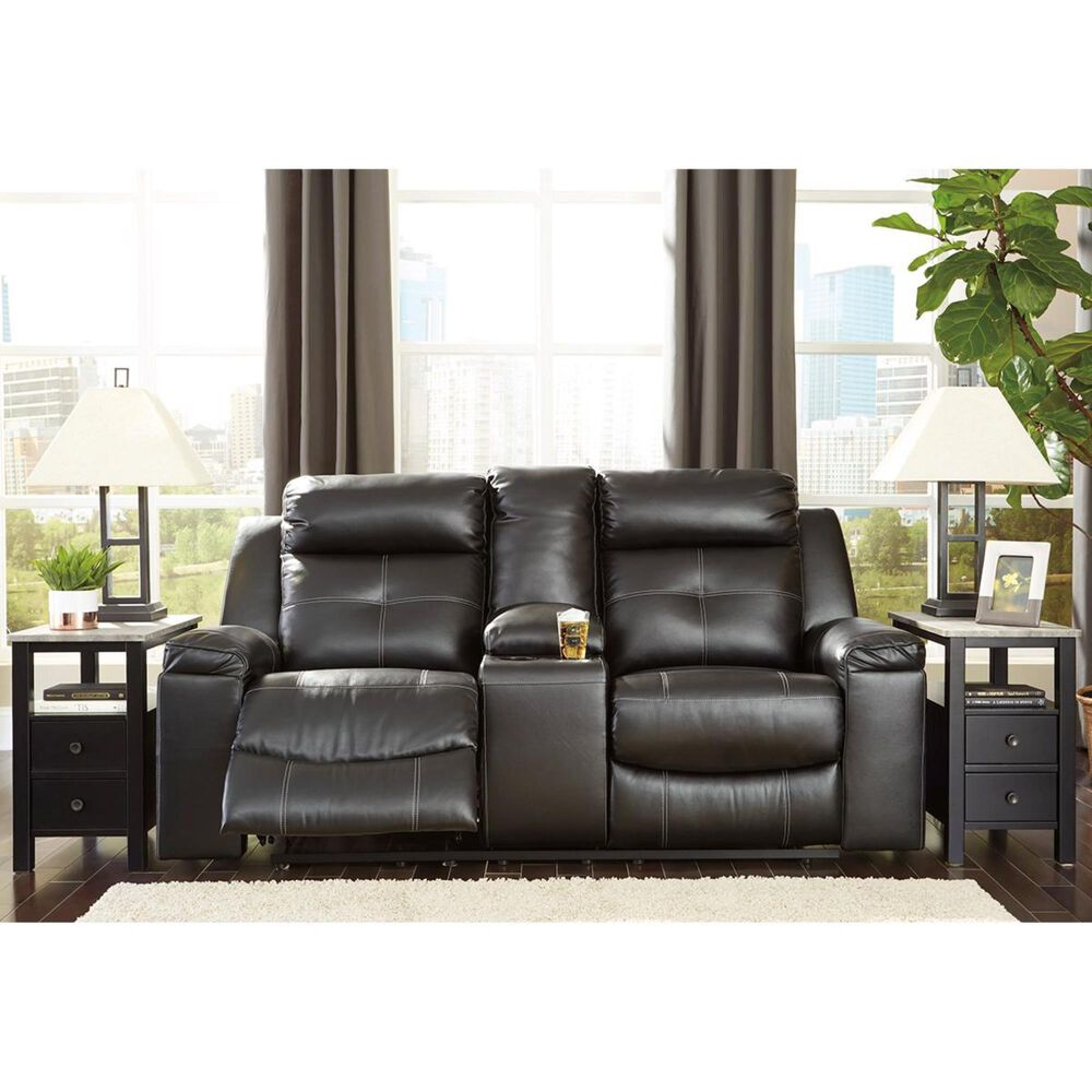 Signature Design by Ashley Kempten Manual Double Reclining Loveseat with Console in Black, , large