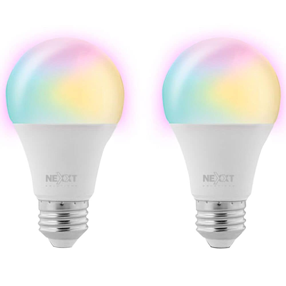 Nexxt 2-Pack A19 RGB Wifi Bulb in White, , large